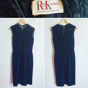 Vintage R & K Originals Lace Little Black Dress